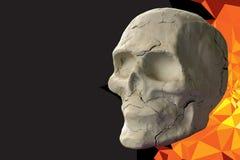 Stone skull on dark background Royalty Free Stock Photos