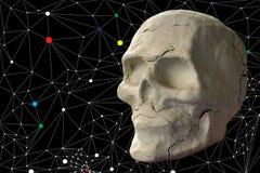 Stone skull on dark background stock photos