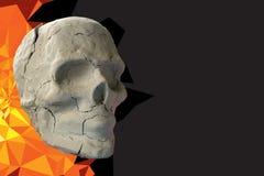 Stone skull on dark background Royalty Free Stock Photo