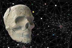 Stone skull on dark background Stock Image