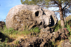 Stone Skull Sculpture on Vesuvius Volcano Italy Royalty Free Stock Photography