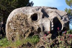 Stone Skull Sculpture on Vesuvius Volcano Italy Stock Photos