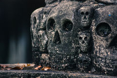 Stone Skulls. Taken at the buddha park  Xieng Khuan in Vientiane, Lao Royalty Free Stock Images