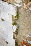 Stone slab detached due to infiltration of water. Toned image stock photo