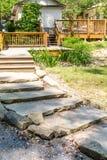 Stone Slab Steps in Garden Stock Image