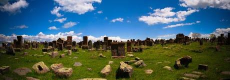 Stone slabs aha khachkar, Noratus cemetery, Armenia royalty free stock images