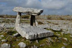 Stone Slabs of Poulnabrone Dolmen. Poulnabrone portal tomb in Ireland Royalty Free Stock Photo