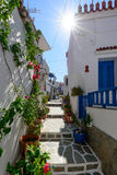 Stone slated alley with limewashed houses Stock Photography