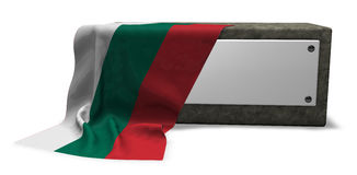 Stone socket with blank sign and flag of bulgaria Royalty Free Stock Images