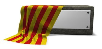 Stone socket and flag of catalonia Royalty Free Stock Photo