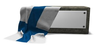 Stone socket and flag of finland Stock Photo