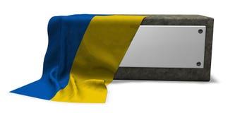 Stone socket and flag of the ukraine Royalty Free Stock Image