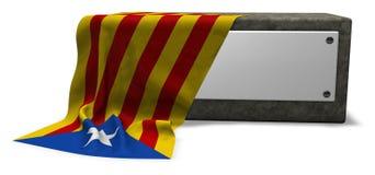Stone socket and flag of catalonia Royalty Free Stock Image