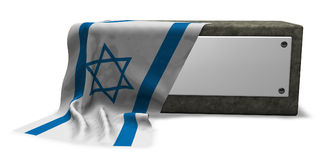 Stone socket and flag of israel Stock Photos