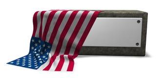 Stone socket and flag of usa Royalty Free Stock Image