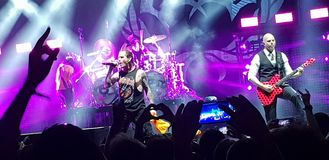 Stone Sour live  in concert, Bucharest, Romania. Stone sour band performing in concert at Roman Arenas in Bucharest, Romania in 2018 Royalty Free Stock Photos