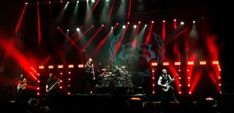 Stone Sour onstage in concert, Bucharest, Romania. Stone Sour band performing in concert at Roman Arenas in Bucharest, Romania in 2018 Stock Photo