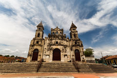 Stone Spanish colonial church in Granada Royalty Free Stock Photography