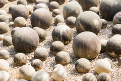 Stone sphere in garden Stock Photos