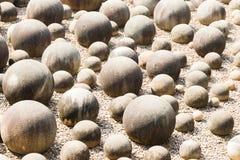 Stone sphere in garden Stock Photo