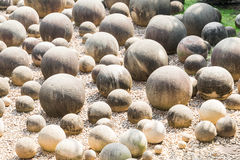 Stone sphere in garden Royalty Free Stock Images