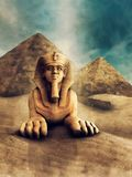 Stone sphinx and pyramids. Desert landscape with a stone statue of a sphinx and ancient Egyptian pyramids vector illustration