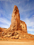 Stone spire in southwest usa. Red rock formation in a blue sky Stock Photos