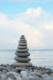 Stone stack on pebble beach Royalty Free Stock Image