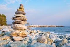Stone stack. Pieria, Greece Stock Photos
