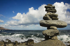 Stone Stack on the Shore Stock Photos