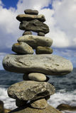 Stone Stack on the Shore Royalty Free Stock Photos