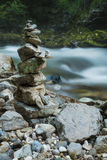Stone stack in Vintgar gorge and Radovna river near Bled, Sloven Stock Photos