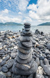 Stone stack in the zen style on Lipe island, Andaman sea of Thailand. Stock Photo