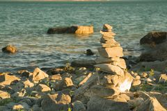 Stone stacked stability river side Stock Images