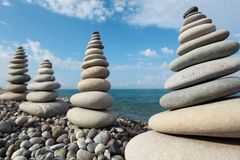 Stone stacks against sky Royalty Free Stock Photo