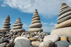 Stone stacks against sky Royalty Free Stock Photos