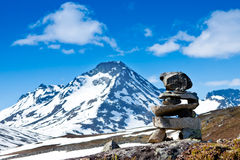 Stone stacks high in the mountains Stock Photo