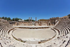 The stone stage in the Roman amphitheater Royalty Free Stock Images