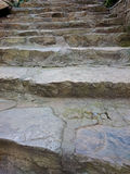 Stone stair with cemented grey steps pattern. Brown staircase ri Royalty Free Stock Photos