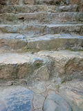 Stone stair with cemented grey steps pattern. Brown staircase ri Stock Photo