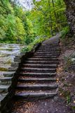 Stone stair in forest in Buttermilk Falls State Park. Ithaca, NY, USA Royalty Free Stock Images