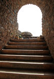 The stone stair. A stone stair leads upwards in the sky Royalty Free Stock Image