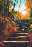 Stone stair path in autumn forest. Illustration painting Royalty Free Stock Images