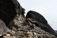 Stone Staircase Carved Into Granite Rock Trail Royalty Free Stock Photos