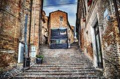 Stone staircase in Corinaldo Stock Photo