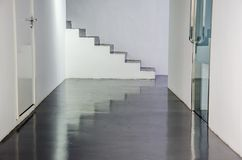 White steps. Stone staircase of duplex building leading to attic stock photos