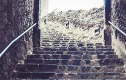 Stone staircase at the entrance to the Acicastello – ancient norman castle in Acitrezza, Catania, Sicily, Italy.  royalty free stock photo