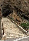 Stone staircase entrance to the cave. Mallorca.  Stock Photography