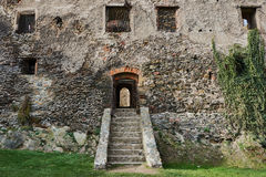 Stone staircase and the entrance to the medieval castle Stock Images