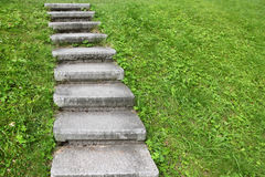 Stone staircase among green grass Royalty Free Stock Photos